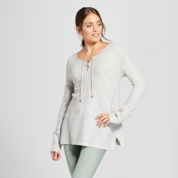 Knox Rose Grey Tie Front Oversized Cuff Sweater Sm